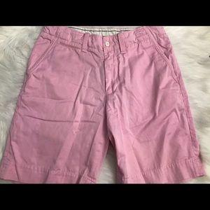 Men's pink khaki polo shorts